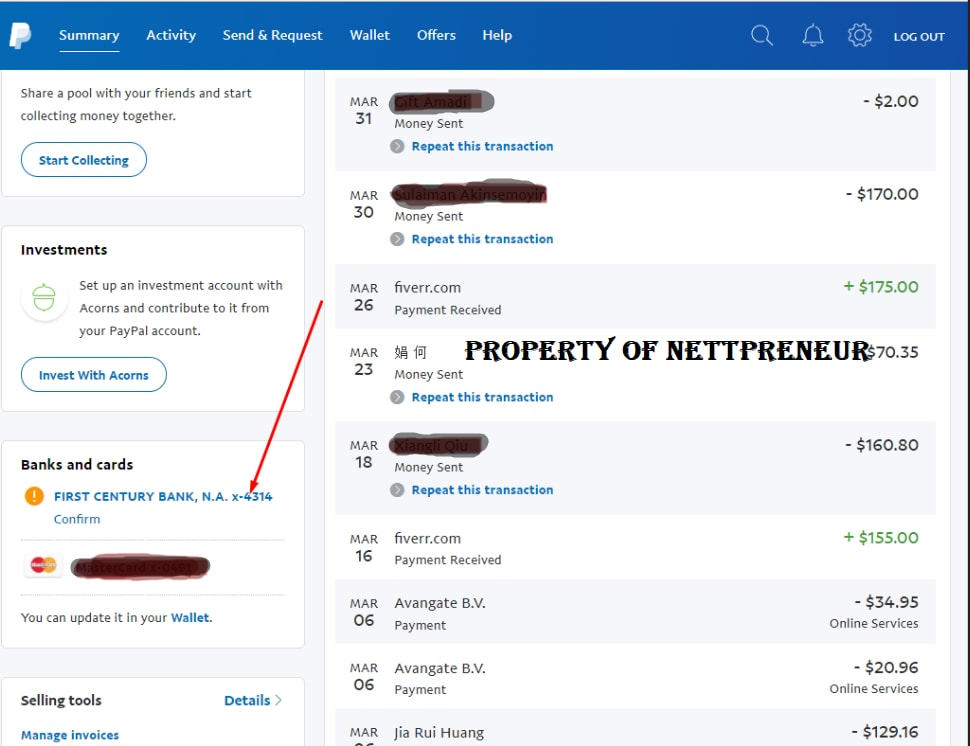 paypal bank account confirmation link