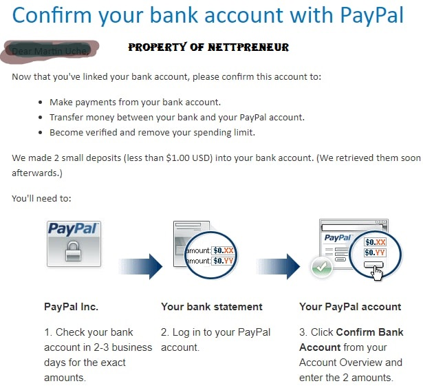 paypal bank account confirmation email
