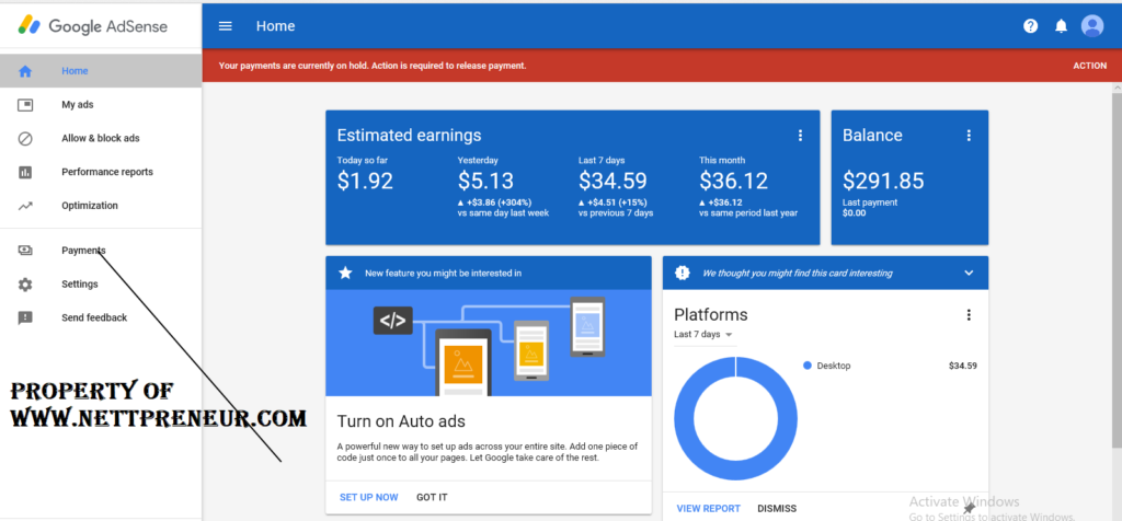 usa adsense account tax info